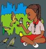 Brown girl and birds Stock Images