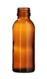 Brown-Glasflasche verlegte den Mund, der auf weißem Hintergrund lokalisiert wurde Lizenzfreie Stockfotos