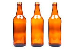 Brown glass bottle, isolated on a white background. Brown glass bottle, isolated on a white background stock photo