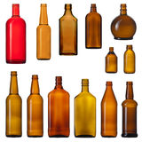 Brown glass bottles. Set of color brown glass bottles. isolated on white background Stock Photos