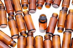 Brown glass bottles Stock Photo