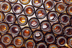 Brown glass bottles top view Stock Photography