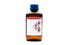 Brown glass chemical bottle. Isolated on white background Royalty Free Stock Photos