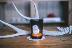 Brown Glass Tealight Candle Holder Royalty Free Stock Photo