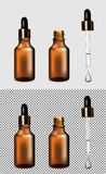Brown glass transparent bottle. Gold cap with dropper vector illustration