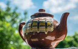 Brown gliny teapot Obraz Stock
