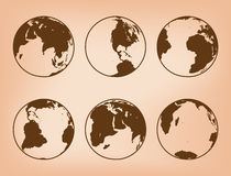 Brown vector globes with continents - set of Earth Stock Photography
