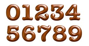 Brown and gloss letters, alphabet, numbers, zero, one, two, three, four, 3d illustration. Alphabet with brown and gloss letters, emboss, numbers zero, one, two royalty free illustration