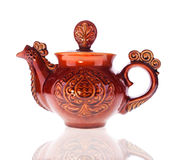 Brown Glossy Teapot Royalty Free Stock Photography
