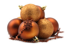 Brown and gold Christmas ornaments Stock Photo