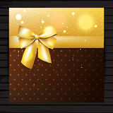 Brown and gold colors card with bow. Brown and gold colors square card with bow and ribbon, vector festive shiny banner Royalty Free Stock Image