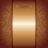 Brown with gold damask pattern royal invitation Royalty Free Stock Images