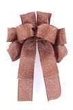 Brown and gold gift bow. And ribbon Stock Photography