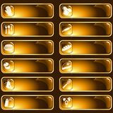 Brown and gold glossy food labels Royalty Free Stock Photo