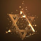 Brown, gold .Srat of David glass glowing in the dark. Jewish symbol. Glow star david Judaizm symbol Golden Glass gllitering Web Religion Shine Ornament sign stock illustration