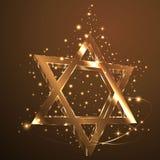 Brown, Gold Srat von David-Glas glühend in die Dunkelheit Jüdisches Symbol stock abbildung