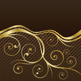 Brown and gold swirls coffee menu cover Royalty Free Stock Photo