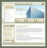 Brown and Gold Technology Business Template. An internet technology business website template with a brown and orange theme. There is a city building in the Royalty Free Stock Image
