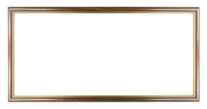 Brown with Gold wooden picture modern frame, included clipping p Royalty Free Stock Photos