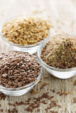 Brown and golden flax seed royalty free stock image