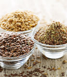 Brown and golden flax seed royalty free stock images