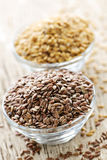 Brown and golden flax seed Stock Photo