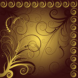 Brown and golden floral  background Royalty Free Stock Images