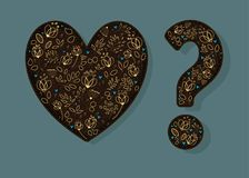 Brown Golden Heart and Question Mark. Brown Heart and Question Mark with graceful decor - golden flowers and plants with drawing effect, blue small hearts Royalty Free Stock Image