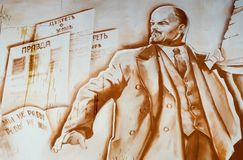 Lenin on graffiti stock photos