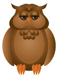 Brown grande Owl Illustration Horned Imagens de Stock