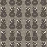 Brown and Gray Cute Stretching Cats Vector Pattern stock illustration