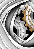 Brown, Gray and Metal Industrial Gears Background Stock Photos