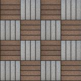 Brown and Gray Rectangles Paved. Seamless Texture. Brown and Gray Pavement Rectangle Laid in Chequerwise. Seamless Tileable Texture Royalty Free Stock Photography