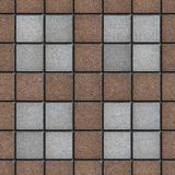 Brown-Gray Square Brick Pavers. Seamless Texture. Concrete Pavement Laid as Four Gray Small Square in Big Brown Square. Seamless Tileable Texture Stock Photos