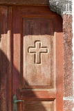 Brown Greek Door Royalty Free Stock Image