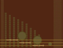 Brown green arrow background. Brown background with dots and arrows Stock Image