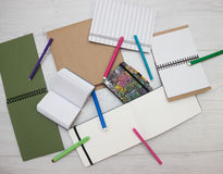 Brown and green blank notebboks Royalty Free Stock Photo
