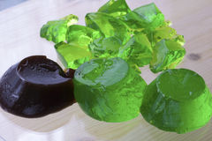 Brown and green jelly. Selective focus Stock Photography