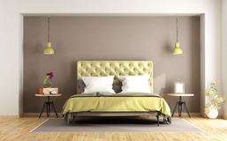 Brown and green master bedroom Stock Images