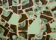 Brown and green tiles mosaic Stock Image