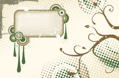 Brown and green vector grunge label Stock Photography