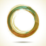 Brown and green vintage themed watercolor ring Stock Photo