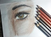 Colorful pencil drawing and pencils royalty free stock photo