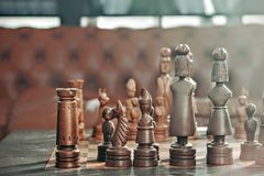 Brown and Grey Chess Piece on Chess Board Stock Photo