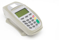 Brown Grey Credit Card Terminal. With Swipe Reader royalty free stock image