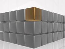 Brown and grey cubes. As abstract background, 3D illustration Royalty Free Stock Photo