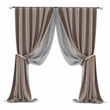 Brown grey curtain isolated Royalty Free Stock Photography