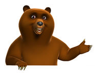Brown grizzly bear. 3d cartoon brown grizzly bear Stock Image