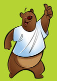 Cartoon grizzly Bear. A brown grizzly bear making a thumb up gesture royalty free illustration