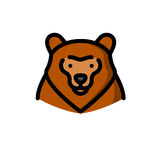 Brown grizzly bear vector illustration Royalty Free Stock Photos
